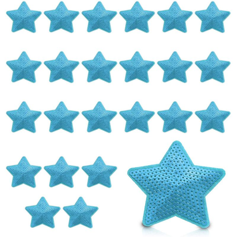 Small Blue Star Embroidery Sequin Patches for Clothing, Iron On Sewing Applique (3.3 in, 24 Pack)