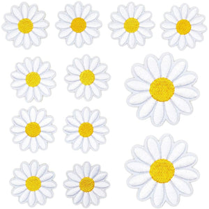 Daisy Iron On Patches, Flower for Embroidery, Sewing (1.8 x 1.8 in, 12 Pack)