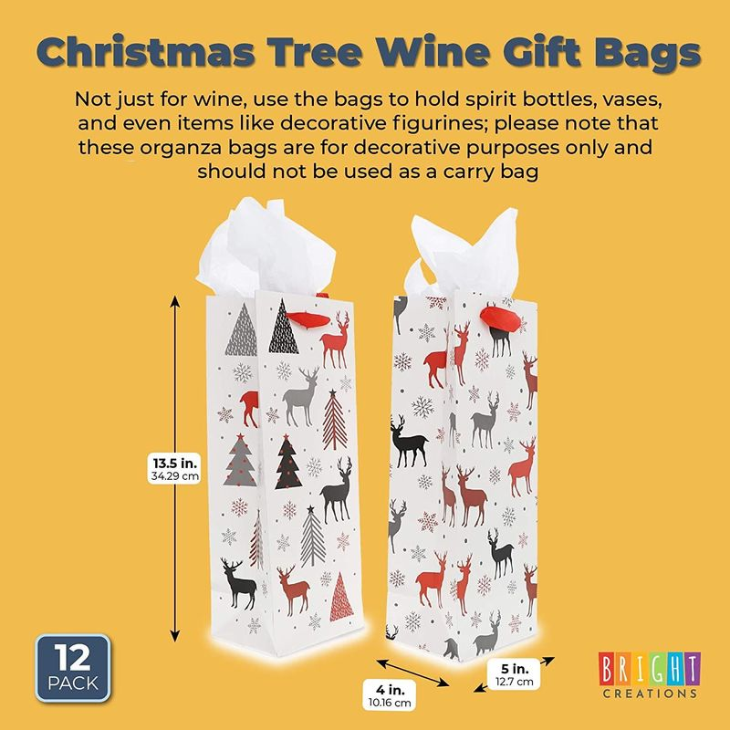 Wine Gift Bags, Christmas Trees and Reindeer with Tissue Paper (5 x 13.5 x 4 in, 12 Pack)