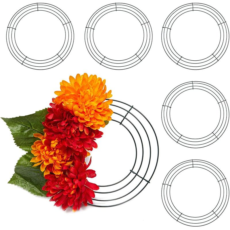 Round Metal Floral Wreath Frame for Flowers (8 Inches, 6 Pack)
