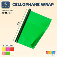 Color Cellophane Wrap Roll, 17 in x 10 Ft (6-Pack)