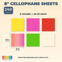 Color Cellophane Wrap Roll, 8 in x 8 Ft (6 Colors, 6-Pack)