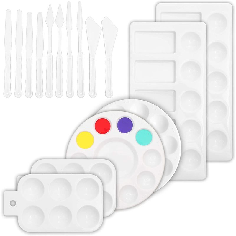 Plastic Palette and Knives Set for Painting (White, 16 Piece