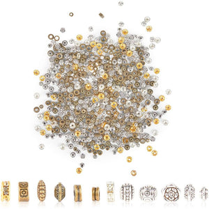 Rondelle Spacer Beads for DIY Jewelry Making, 12 Styles (2 Colors, 600 Pieces)