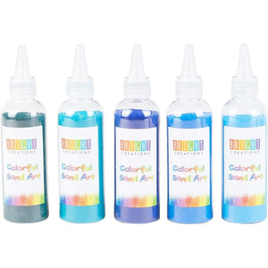 Bright Creations Colored Sand Bottles for Arts and Crafts, Cool Colors (0.33 lb, 10 Pack)