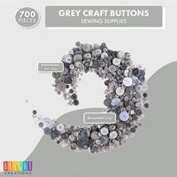 Gray Buttons with 4 Holds, Sewing Supplies (700 Pieces)