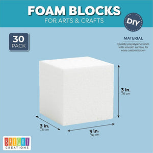 Polystyrene Craft Foam Cube Block (3 in, 30 Pack)