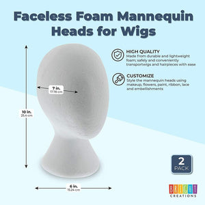 Faceless Foam Mannequin Heads for Wigs (6 x 7 x 10 in, 2 Pack)