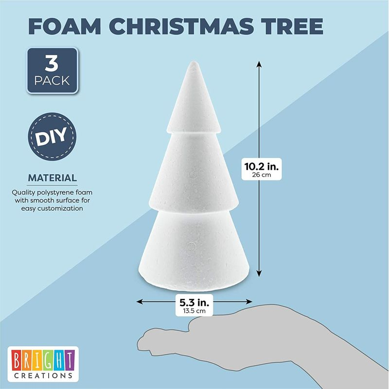 Foam Christmas Tree Cones for DIY Crafts, Decorations (10.2 Inches, 3 Pack)