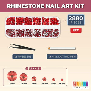 Nail Rhinestones Set, Includes Tweezers and Dotting Pen (6 S