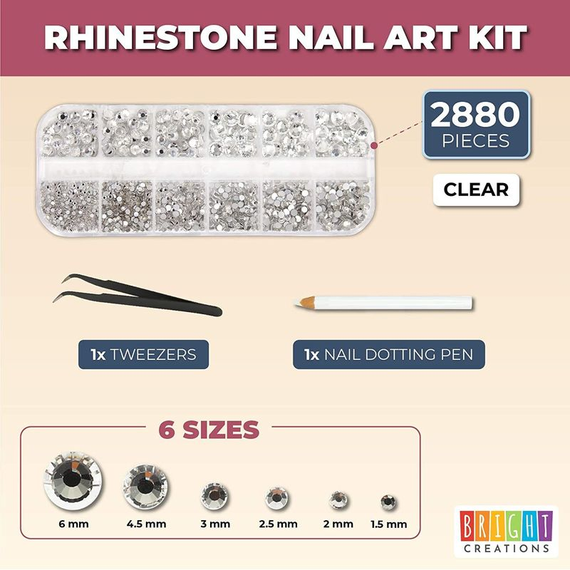 Acrylic Nail Art Kit with Clear Rhinestone Gems, Dotting Pen, Tweezers (2880 Pieces)