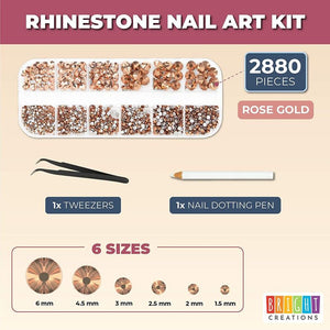 Nail Art Kit with Rose Gold Rhinestones, Dotting Pen, Tweezers (2880 Pieces)