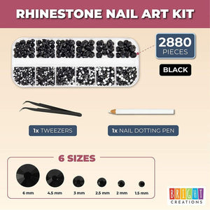 Nail Art Kit with Black Rhinestone Gems, Dotting Pen, Tweezers for Acrylic Designs (2880 Pieces)
