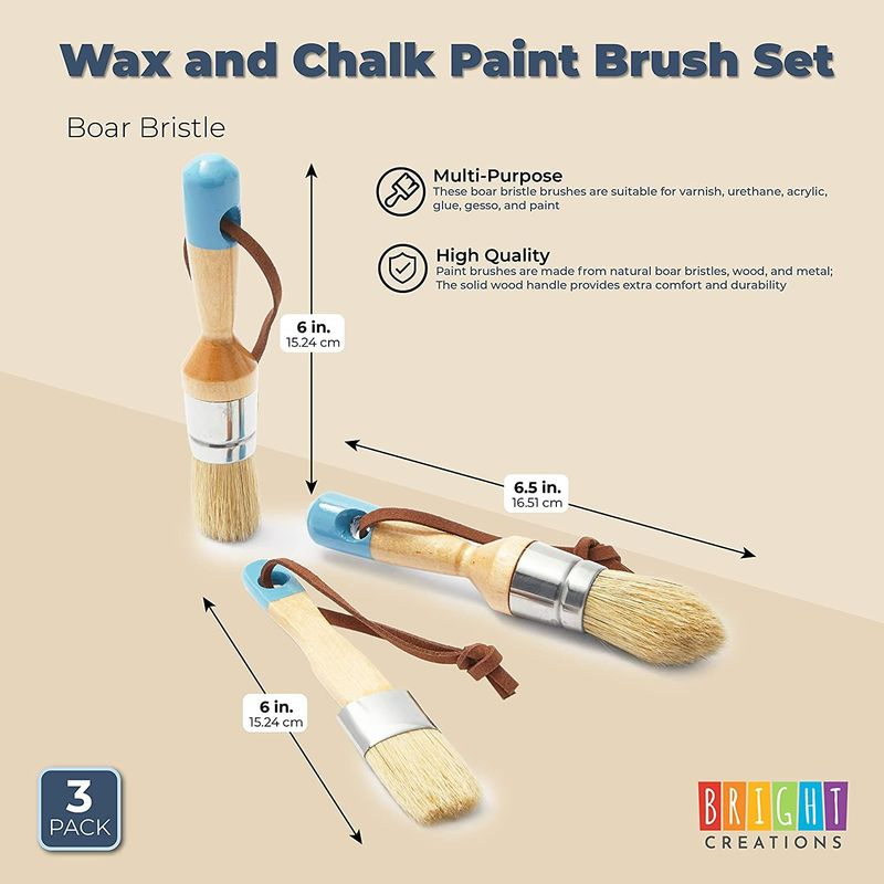 Wax and Chalk Paint Brush Set, Boar Bristle (3 Pack)