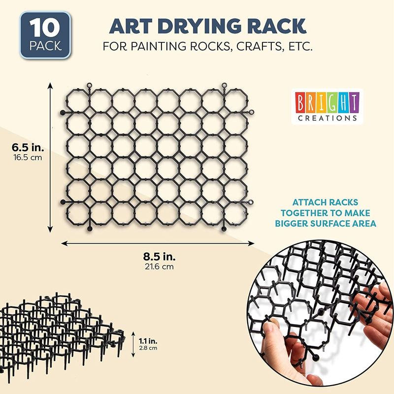 Rock Art Drying Rack for Painting and DIY Crafts (Black, 8 x 6 in,10 Pack)