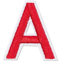 Red Alphabet Letter and Number Iron On Patches for Applique,