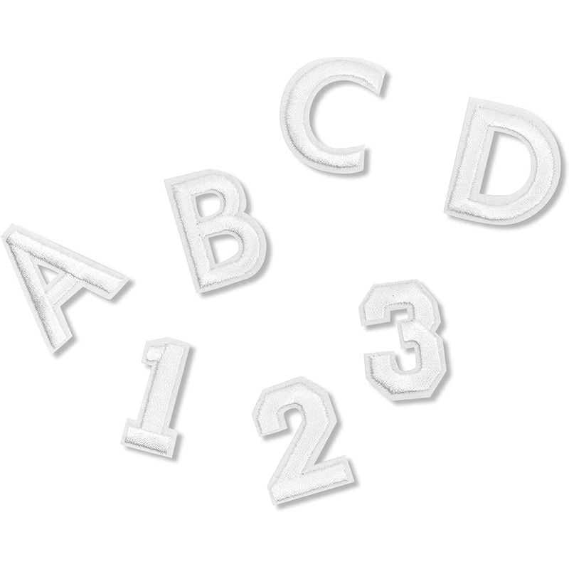 White Alphabet Letter and Number Iron On Patches for Appliqu