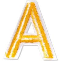 Gold Alphabet Letter and Number Iron On Patches for Applique