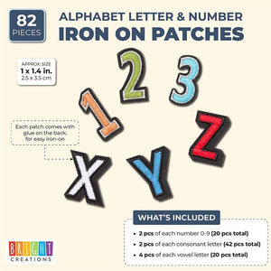 Alphabet Letter and Number DIY Iron Patches, Multicolored (1.4 x 1 in, 82 Pack)