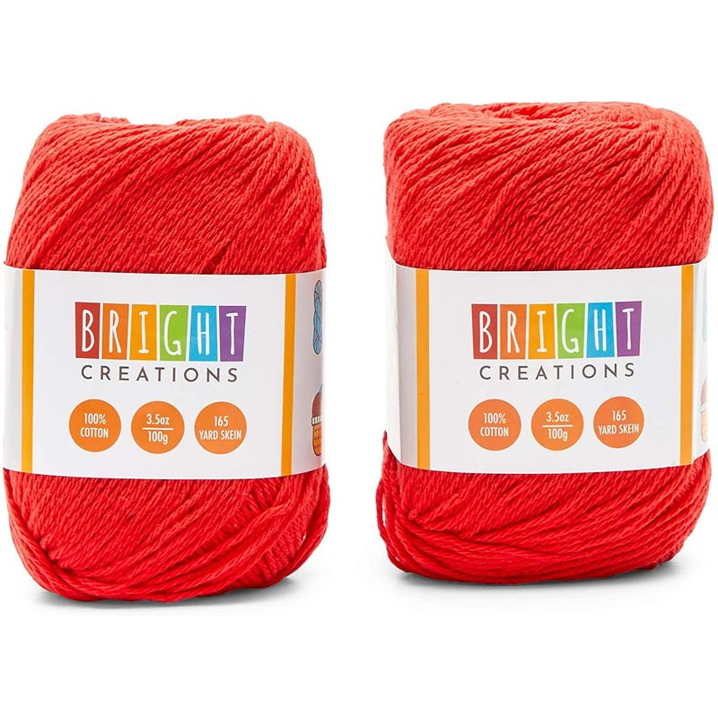 Red Cotton Skeins Yarn for Knitting, Crocheting, Crafts (165 Yards, 2 Pack)