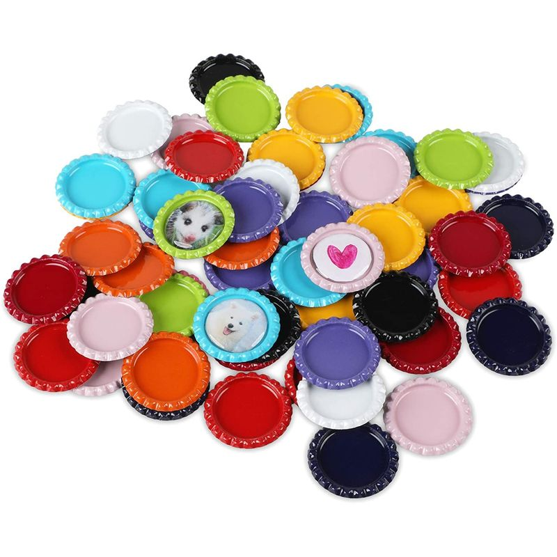 Flattened Bottle Caps with Clear Circle Stickers for Photo Pendant Craft (120 Pack)