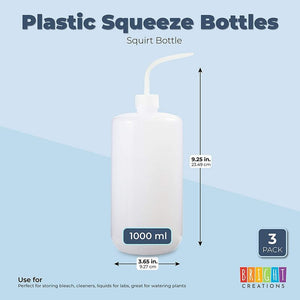 Plastic Squeeze Bottles, 33 oz Squirt Containers (3 Pack)