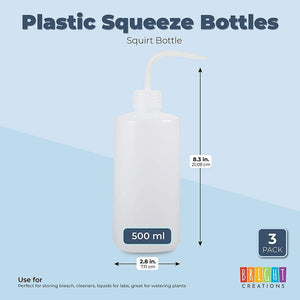 Plastic Squeeze Bottles, 16 oz Squirt Containers (3 Pack)