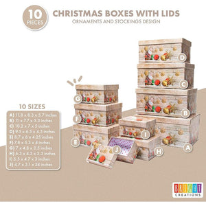 Christmas Nesting Gift Boxes with Lids, Ornaments Design (10 Pack)
