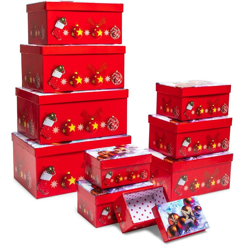 Christmas Nesting Gift Boxes with Lids, 10 Sizes (Red, 10 Pack)