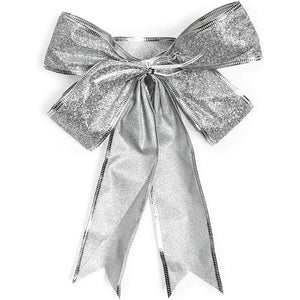 Christmas Bows for Gift Wrapping, Silver Glitter (7 x 9 in, 12 Pack)