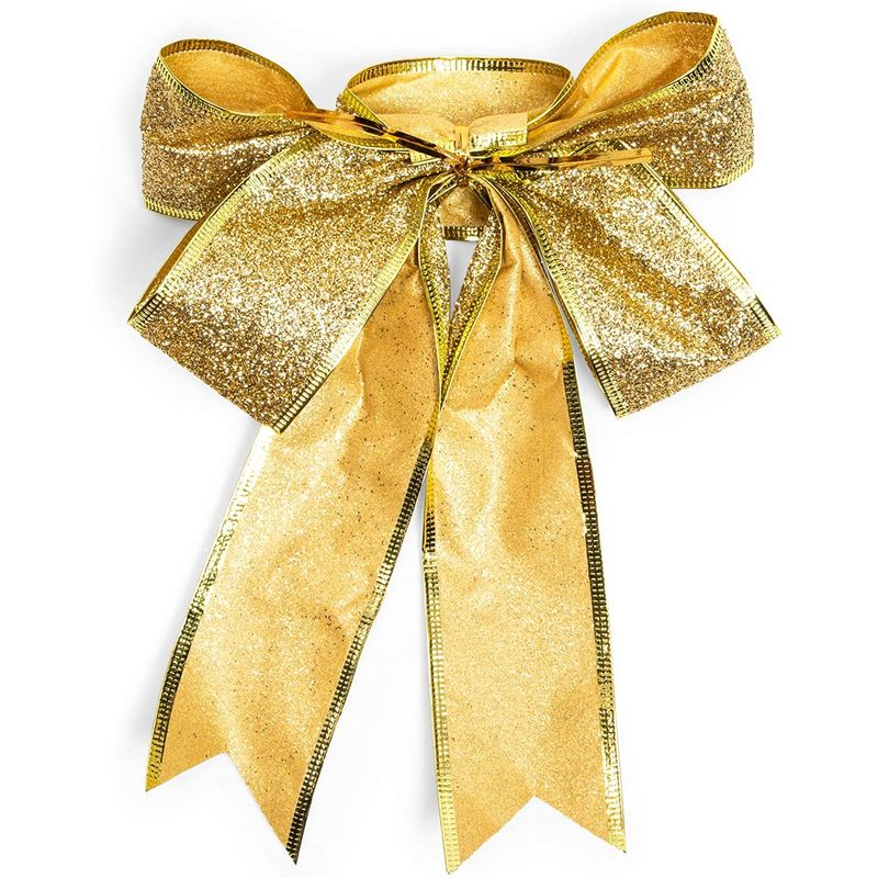 Christmas Bows for Gift Wrapping, Gold Glitter (7 x 9 in, 10 Pack)
