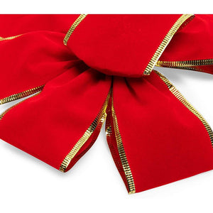 Red Velvet Christmas Bows, Giant Gift Decorations (9 x 16 in, 10 Pack)