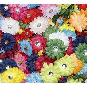 Artificial Mini Flowers, Satin Ribbon Daisy with Rhinestones (1 In, 200 Pack)