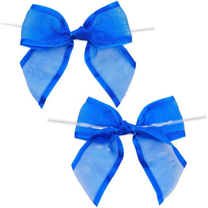 Blue Organza Bow Twist Ties for Favors and Treat Bags (1.5 I