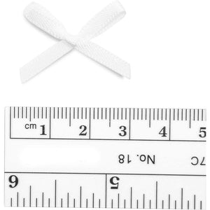 Mini Ribbon Bows for Crafts (1.2 x 0.8 Inches, White, 500-Pack)