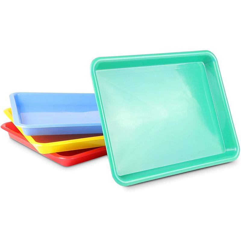 Plastic Trays for Kids Arts and Crafts, 4 Colors (13.4 x 10 x 1.2 in, 4 Pack)