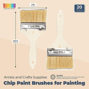 Chip Paint Brushes for Painting, Arts and Crafts Supplies (4 x 8.5 in, 20 Pack)
