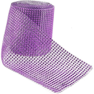 Mesh Ribbon for Wreaths, Purple Rhinestones (10 Yards)