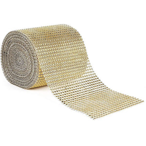 Gold Mesh Rhinestone Wrap Ribbon for Wreaths (10 Yards x 4.75 Inches)
