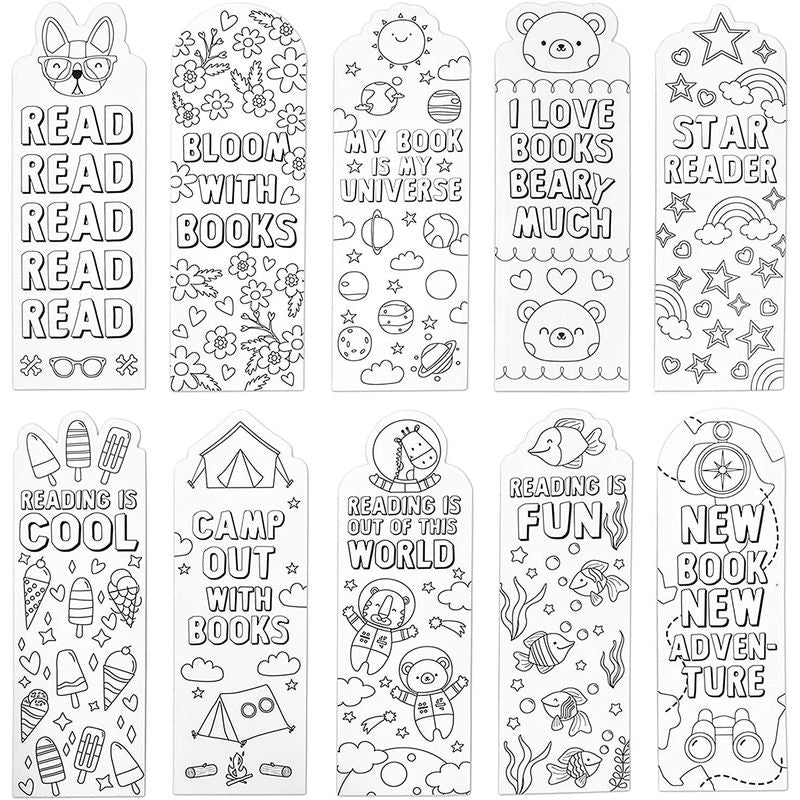 Color Your Own Bookmarks for DIY Crafts, Classroom (2 x 6 in, 24 Pack)