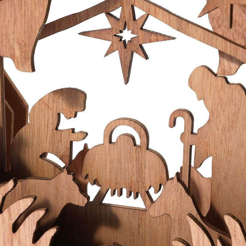 Bright Creations Wooden Star Shaped Nativity Scene (10.5 x 2 x 10 Inch)