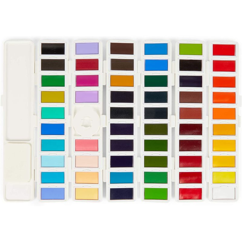 Watercolor Paint Palette, Art and Painting Supplies (58 Colors, 8 x 4 Inches)