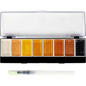 Metallic Watercolor Paint Set with Water Brush Pen (8 Colors)