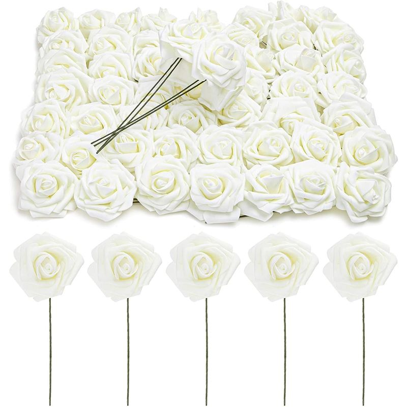 Cream 3-Inch Artificial Rose Flowers Heads with Stems (60 Pack)