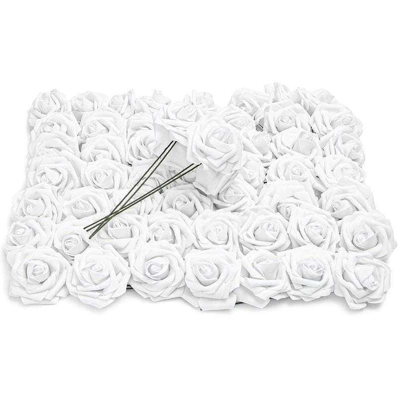 White 3-Inch Artificial Rose Flower Heads with Stems (60 Pack)