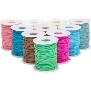 Plastic Lacing Cord Kit with Key Chain Rings, Hooks, Clasps, 10 Colors (40 Yards, 100 Pieces)