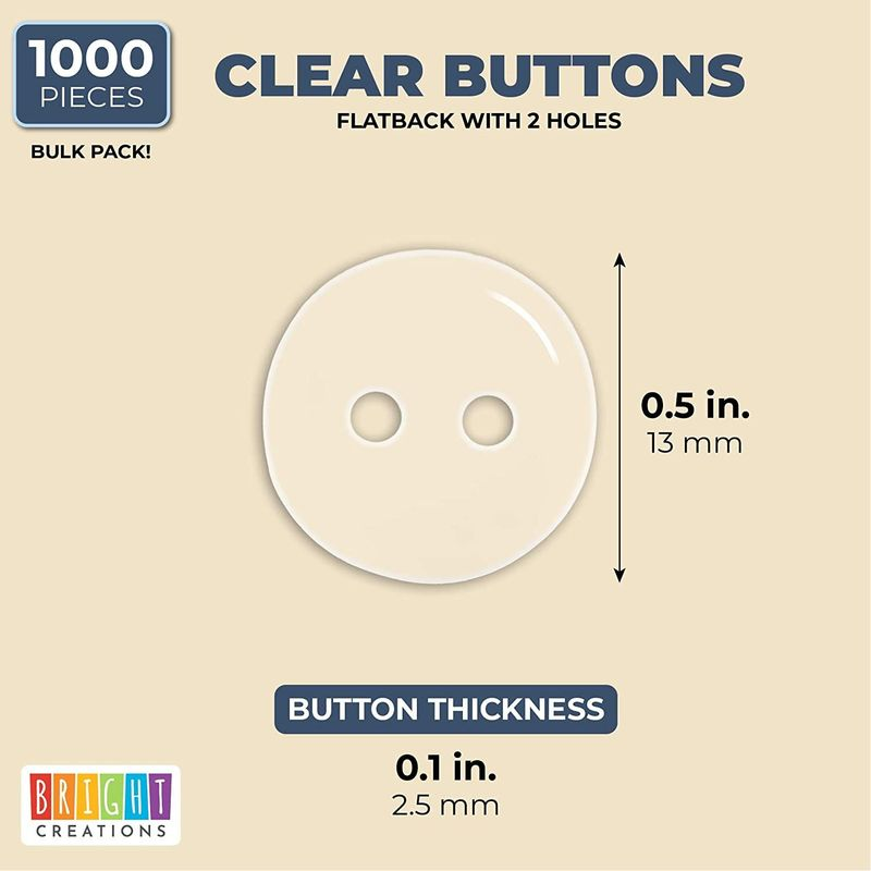 2 Hole Buttons, Sewing Supplies (Clear, 13 mm, 1000 Pieces)