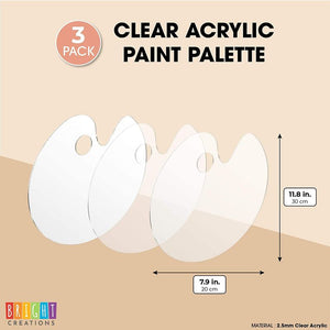 Clear Acrylic Paint Palette, Arts and Crafts Supplies (11.8 x 7.9 in, 3 Pack)