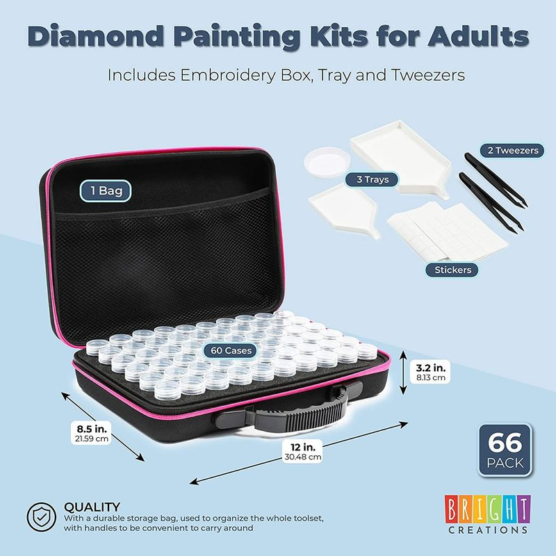 Diamond Painting Kits for Adults, with Embroidery Box, Tray, Tweezers (66 Pieces)