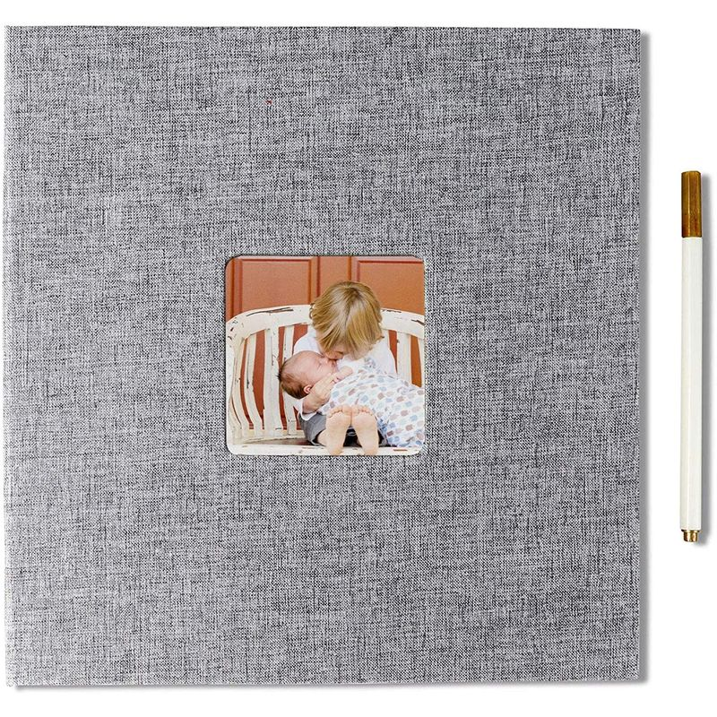 DIY Hardcover Scrapbook Photo Album (Grey, 11 x 10.6 Inches)